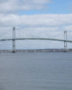 Newport Bridge as seen from downtown Jamestown, R.I.