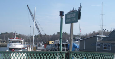 View of Kennebunk River at Kennebunk sign, Kennebunkport, Maine