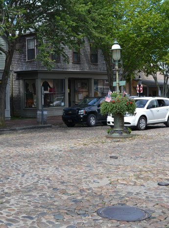 cobblestones on Main St., Nantucket, Ma.