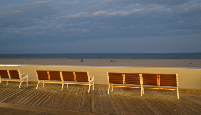 Boardwalk benches in Ocean City, Maryland