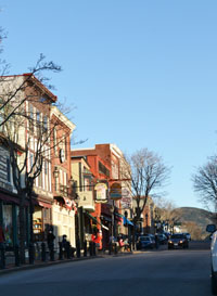 View of Main St. and Cadillac Mountain, Bar Harbor, Maine