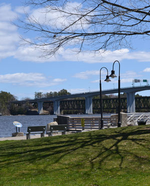 Waterfront Park view of the Kennebec River and Carlton Bridge, Bath, Maine