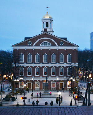 View of Faneuil Hall from Government Center, Boston, Ma.