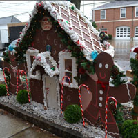 Gingerbread man with his house decoration on Sound Beach Ave., Old Greenwich, Ct.