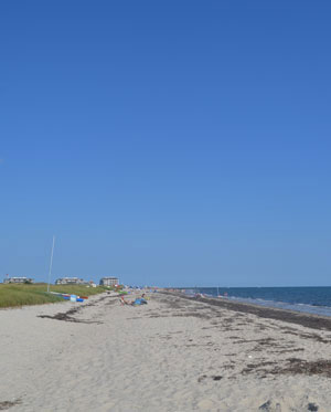 View of private and public beaches along Nantucket Sound from Sea St., Harwich Port, Ma.