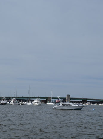 Gillis Bridge over the Merrimack River, seen from Waterfront Park, Newburyport, Mass.
