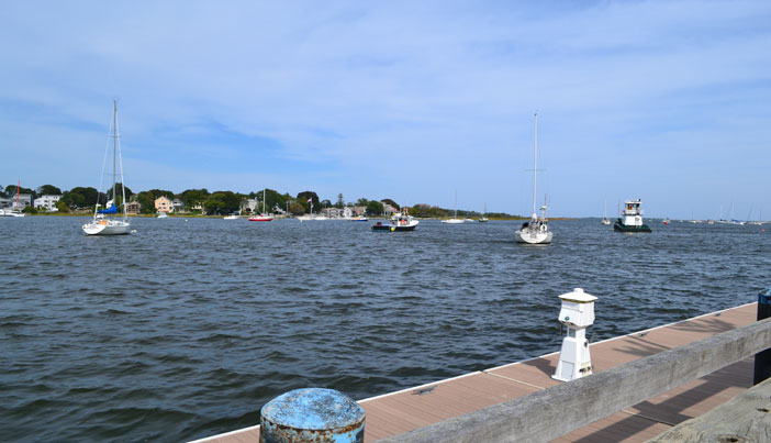 View of Merrimack River from downtown Newburyport Waterfront Park boardwalk
