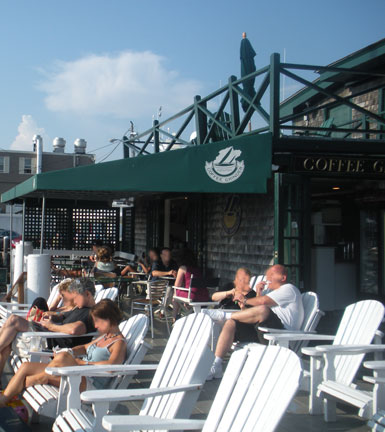 Adirondack chairs at Coffee Grinder, Bannisters Wharf, Newport, R.I.