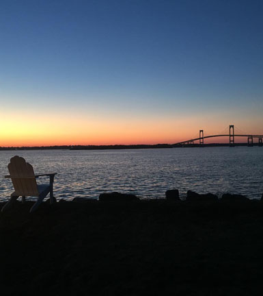View of Newport Bridge from Gurneys Resort, Goat Island, Newport, R.I.