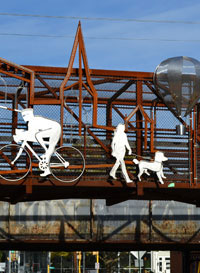Sam Ostroff's metal sculpture on the bike path bridge over Main St., Northampton, Ma.
