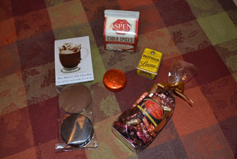 Mulling spices & Italian candy from Twelve Pine; chocolates from Ava Marie's; bought in Peterborough, N.H.