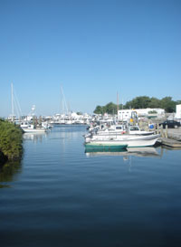 Wickford Harbor at end of Main St. and view of Brewer Wickford Cove Marina, Wickford, R.I.